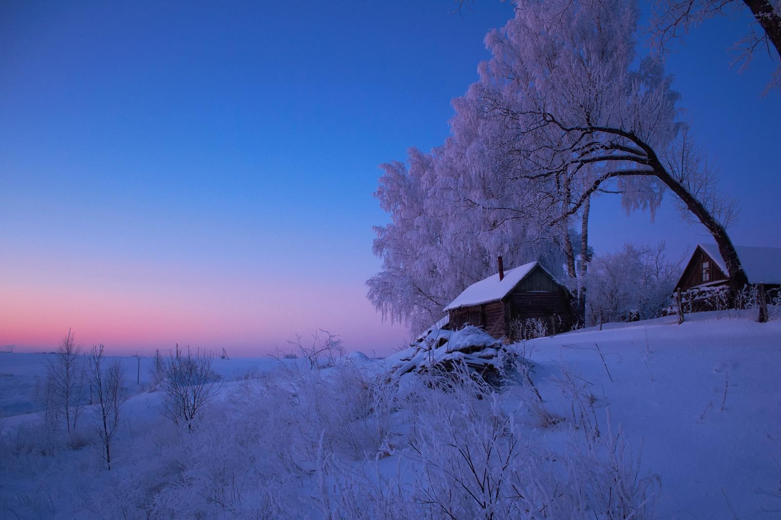 Картинки зима в деревне красивые пейзажи