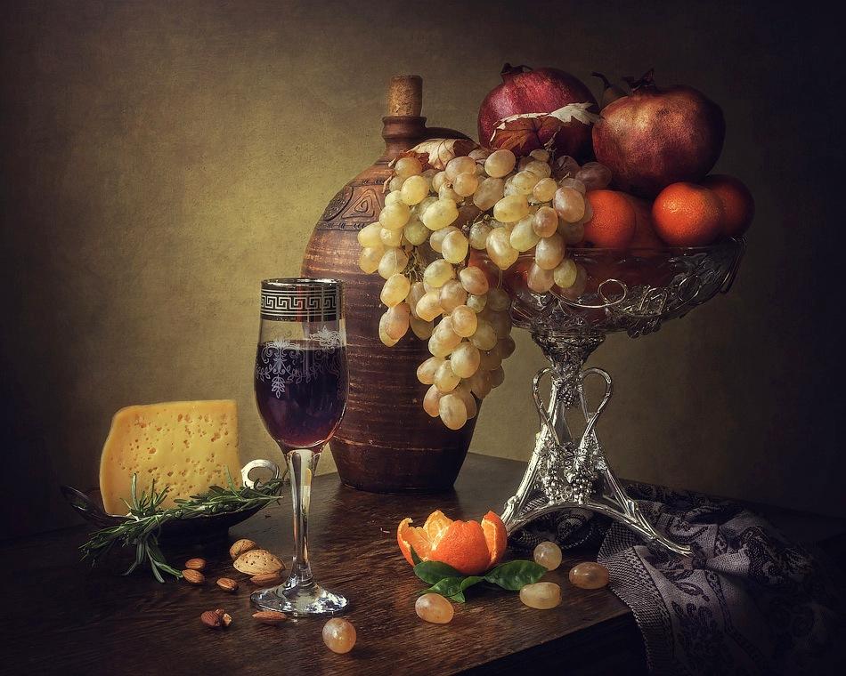 Картинки натюрморты с фруктами и вином